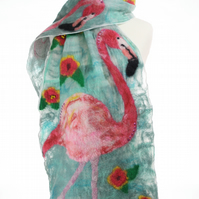 Tropical Flamingo Silk and Felt Scarf