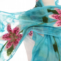 Stargazer Lily Silk and Felt Scarf