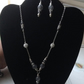 Grey Cloudy Quartz necklace with silver plated chain and matching earrings