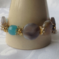 Botswana Agate, quartz and Jade beaded bracelet, brown, cream, blue and gold