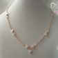 Rose gold 925 silver heart chain necklace with Rose Quartz hearts
