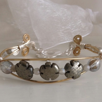Wire wrapped bangle pyrite flowers, silver plate and pyrite gold bangle,