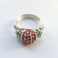Wire wrapped ring, Christmas ring, green ring, red ring, sparkle ring