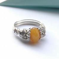 Yellow ring, wire wrapped ring, yellow and silver ring, sparkle ring, handmade,