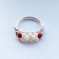 Ring, red, white and silver ring, wire wrapped ring, coral ring,