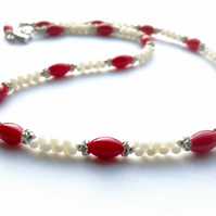 Coral necklace, red and white necklace, sparkle necklace,