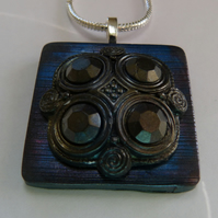 Steel blue, Celtic style polymer clay pendant