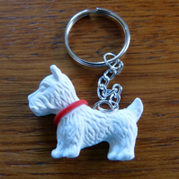 White Scottie dog keyring