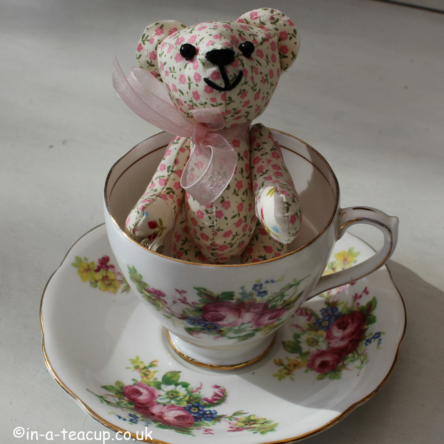 Teddy bear, vintage teacup and saucer, handmade teddy, mothers day