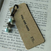 Letterpress bookmark with beads YOU ARE HERE