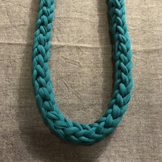Dark Turquoise chunky recycled textile necklace