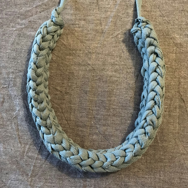 Duck Egg Blue chunky recycled textile necklace