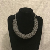 Short grey chunky recycled textile necklace