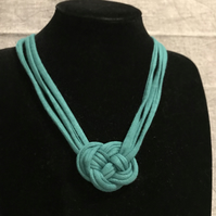 Turquoise small knot recycled textile necklace