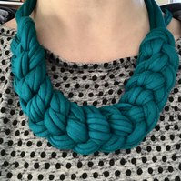 Turquoise chain knot recycled textile necklace