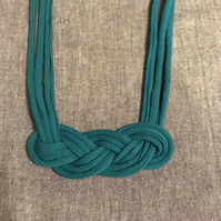 Turquoise twist recycled textile necklace