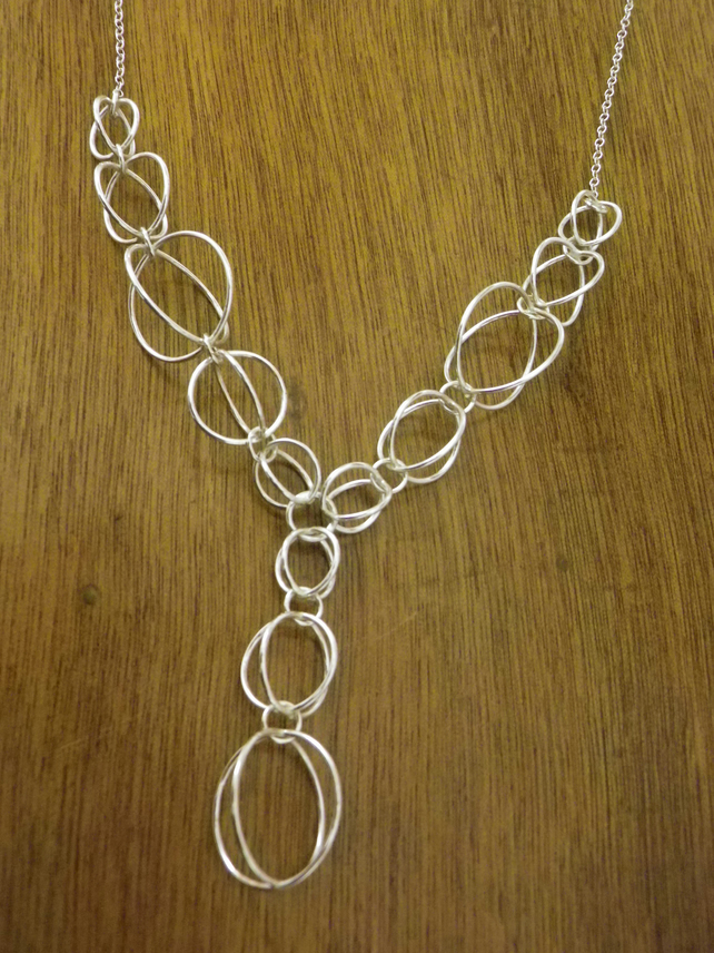 Large Orbits Sterling silver chain necklace