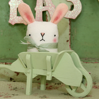 Cute white wool felt Easter bunny rabbit