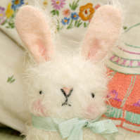 Cute white collectable mohair Easter Bunny Rabbit