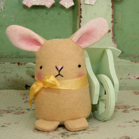 Cute honey colour wool felt Easter bunny rabbit