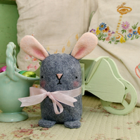 Cute grey wool felt Easter bunny rabbit