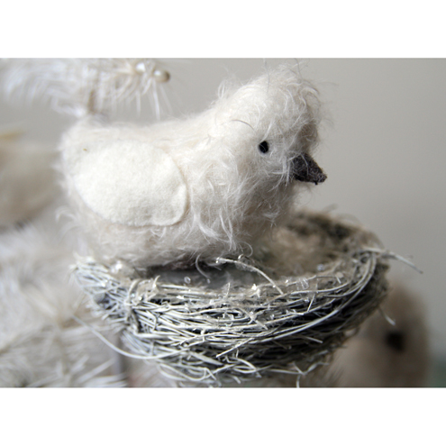 Sweet folk art mohair bird with nest decoration