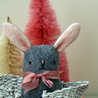 Cute grey wool felt bunny
