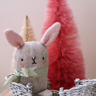 Cute oatmeal  wool felt bunny