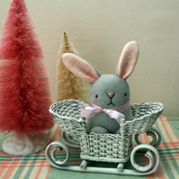 Cute pale grey wool felt bunny