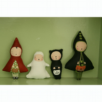 Set of small Primitive folk art Halloween dolls