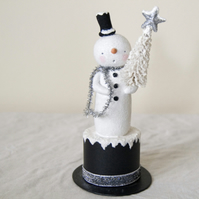 Vintage style Christmas folk art  tall snowman figure