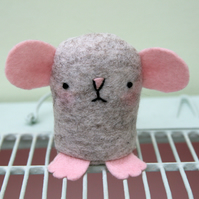 Cute little wool felt squeaker mouse