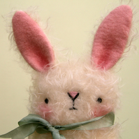 Cute white collectable mohair spring Bunny Rabbit