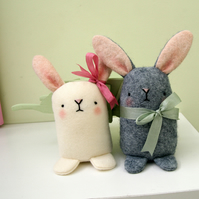 2 Wool felt bunnies special order for sarahdezille