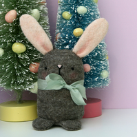 Cute brown wool Felt Easter Bunny rabbit