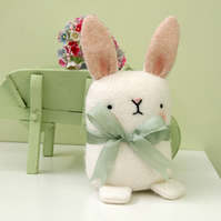 Cute white wool Felt Bunny rabbit