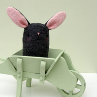 Cute grey wool Felt Easter Bunny