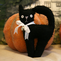 Sweet little Primitive black mohair Halloween witches cat. Hand made.