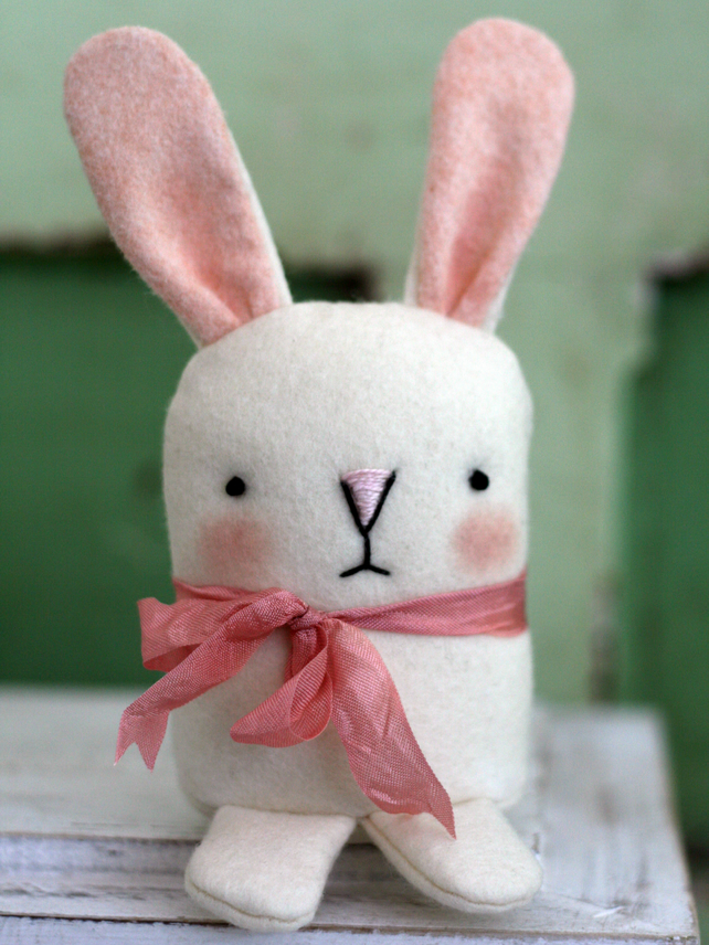Sweet little white felt bunny rabbit plush toy