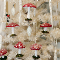 Adorable spun cotton clip on mushrooms toadstools set of two
