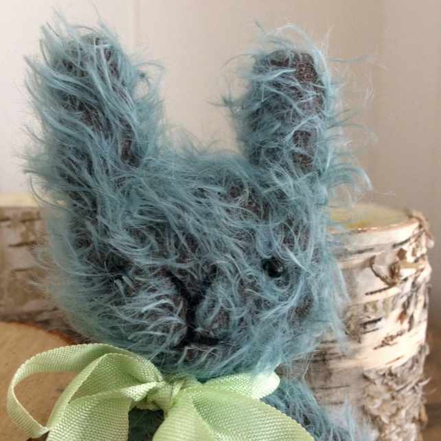 Sweet little Ezra mohair bunny rabbit, amazing blue mohair.
