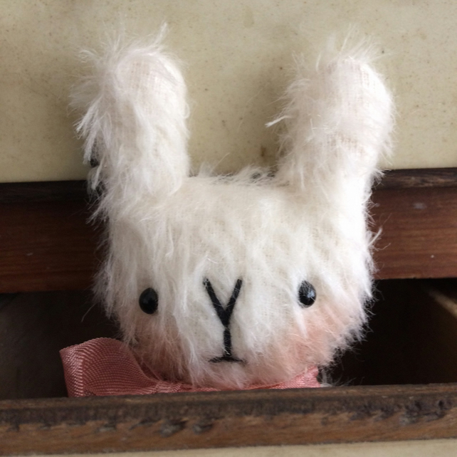 Sweet little Mabel mohair Easter bunny rabbit.