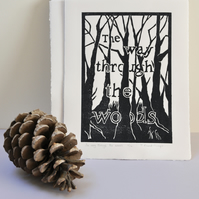 The way through the woods. Original Lino Print.