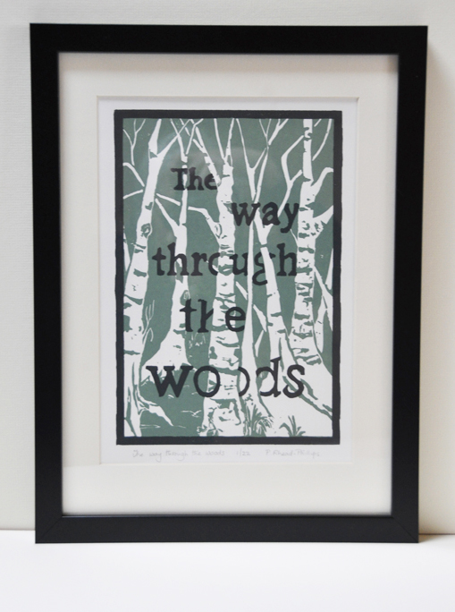 The way through the woods 2. Original Lino Print.