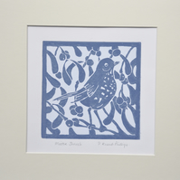 Mistle Thrush   Lino cut print