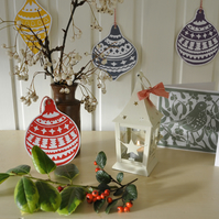 Two hand printed bauble Christmas cards or decorations.