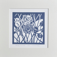 Original Honesty and chives lino print