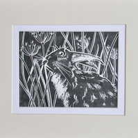 Original Lino print - March Hare