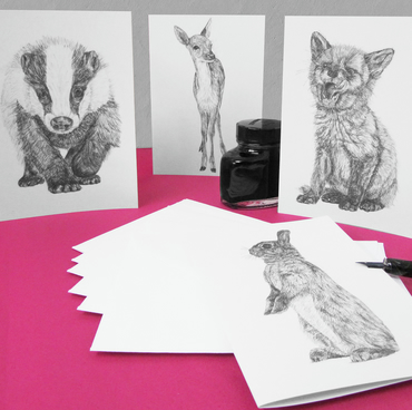 Woodland Animal Art Notecards