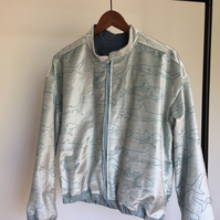 Blue Sharks Print Velvet Bomber Jacket